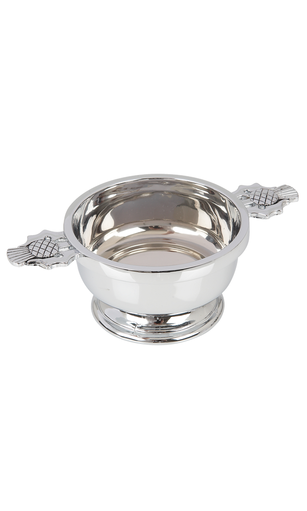"3"" Thistle Chrome Plated Quaich"