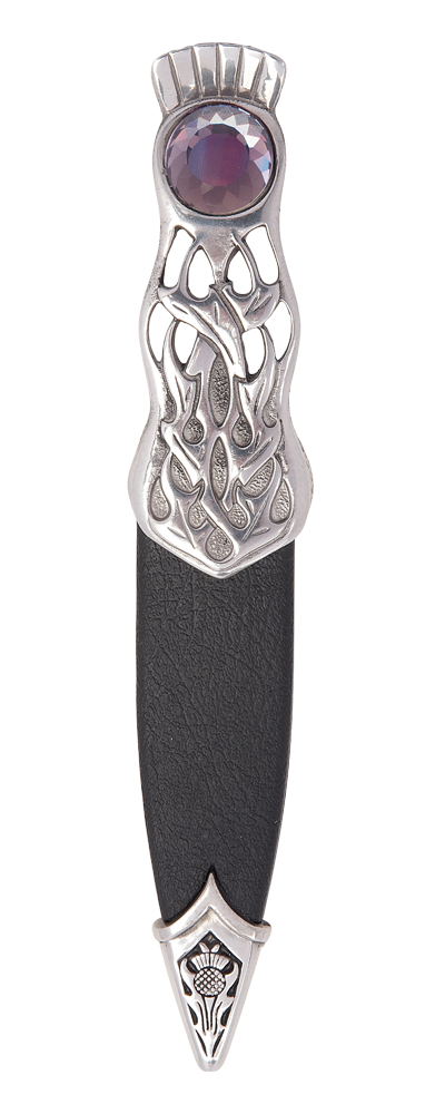 Thurso Polished Pewter Dress Sgian Dubh With Stone Top