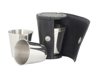 Set Of 4 Small Cups In Black Leather Case